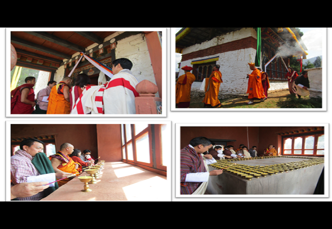 Coinciding with Lord Buddha's Parinirvana, the Venerable Lam Neten of Dagana rabdey consecrated the butter lamp offering chamber (karmoe choekhang).